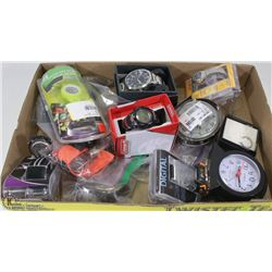 FLAT OF MISC WATCHES & ALARM CLOCKS