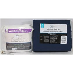 MAINSTAYS TWIN SHEET SET & MATTRESS ENCASEMENT