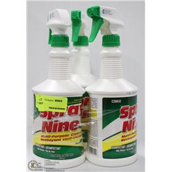 THREE BOTTLES OF SPRAY NINE MULTI-PURPOSE CLEANER