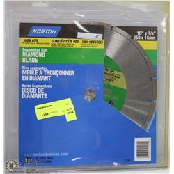 "NORTON 10""X5/8"" SEGMENTED RIM DIAMOND BLADE"