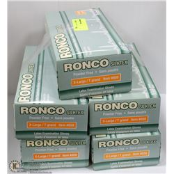 FIVE CASES OF RONCO EXAMINATION GLOVES SIZE XLARGE