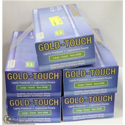 FIVE CASES OF GOLD-TOUCH DISPOSIBLE GLOVES