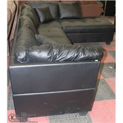 NEW BLACK LETHERETTE L SHAPED SECTIONAL