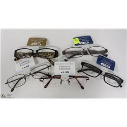 LOT OF 5 READING GLASSES STRENGTH +1.25