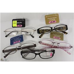 LOT OF 5 READING GLASSES STRENGTH +2.50