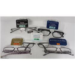LOT OF 5 READING GLASSES STRENGTH +1.50