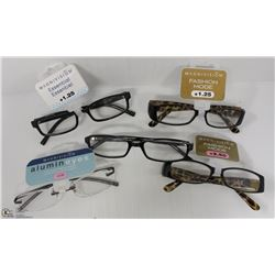 LOT OF 5 READING GLASSES STRENGTH +1.25 TO +2.50