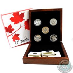 2013 Canada $25 O' Canada Series 5-coin Set (TAX Exempt) - comes in deluxe Case issued by the Mint