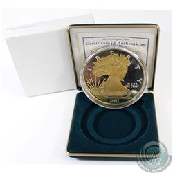 2001 United States Quater Pound (4oz) Fine Silver Eagle with Selective Gold Plating (TAX Exempt). Th