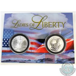 2002 Royal Mints Famous Images of Freedom - Silver Eagle and Britannia 1oz Coin set (TAX Exempt). Bo