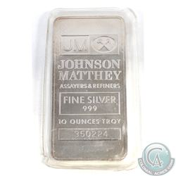 Johnson Matthey 10oz 999 Fine Silver Bar (TAX Exempt). Serial # 350224. 10oz example produced by Joh