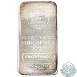 Vintage Engelhard 10oz 999+ Fine Silver Bar (TAX Exempt). Serial # C368790 - 2nd series standard com