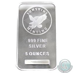 Sunshine Mint 5oz .999 Fine Silver Bar (TAX Exempt) with Mint Mark security logo on the reverse.