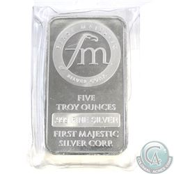 "First Majestic ""fm"" 5 oz .999 Fine Silver Bar (TAX Exempt). With repeated FM logo on the reverse."