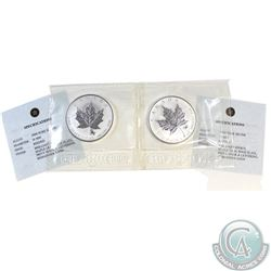 Pair of 2004 Canada $5 Cancer & Capricorn Privy 1oz Silver Maples (TAX Exempt) .9999 Pure Silver wit