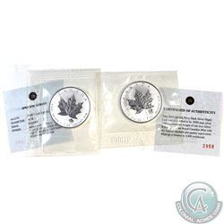 Pair of 2004 Canada $5 Gemini & Taurus Privy 1oz Silver Maples (TAX Exempt) .9999 Pure Silver with a
