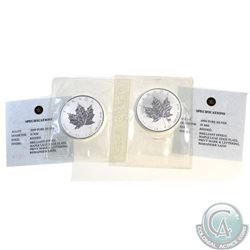 Pair of 2004 Canada $5 Scorpio & Aries Privy 1oz Silver Maples (TAX Exempt) .9999 Pure Silver with a
