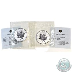 Pair of 2004 Canada $5 Sagittarius & Libra Privy 1oz Silver Maples (TAX Exempt) .9999 Pure Silver wi