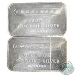 Vintage Pair of Engelhard 1oz .999 Fine Silver Bars (TAX Exempt). Receive 1980 variety Serial #PF482