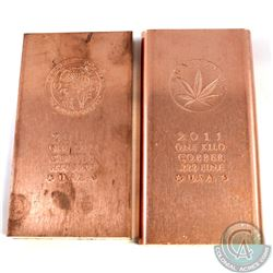 Pair of .999 Fine Copper One Kilo Bars 'Legalize it' and 'Psychedelic Funk' Designs (TAX Exempt). 2p