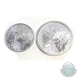 "Pair of 2016 1oz & 2oz Silver Shield ""Freedom Girls"" .999 Fine Silver Coins (Tax Exempt). 2pcs"