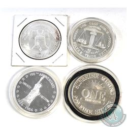 Lot of 4x United States 1oz .999 Fine Silver Rounds (TAX Exempt). Each coin is a different design. 1