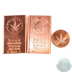 Set of 3x .999 Pure Copper Legalize it Bars and Rounds (TAX Exempt). You will receive the Cannabis H