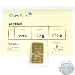 Credit Suisse .9999 Fine Gold 20 Gram Bar (TAX Exempt). Serial # 007699 with COA.