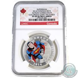 2014 Canada $15 Superman Comic #419 NGC Certified PF-69 (TAX Exempt). This Certified 99.99% Fine Sil