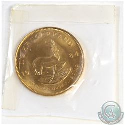 1984 South Africa 1/2oz Gold Krugerrand. This coin is .917 Pure Gold with a weight of 16.97g
