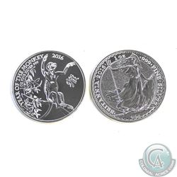 Pair of 2016 Great Britain 2 Pound 1oz Fine Silver Coins (TAX Exempt). You will recieve the 2016 Bri