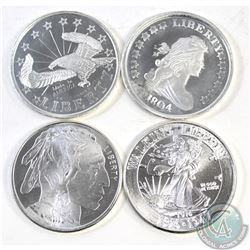 Group lot of 4x United States Liberty 1oz Fine Silver Rounds (TAX Exempt). Each coin contains a diff
