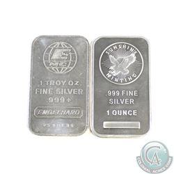 Pair of 1oz 999 Fine Silver Bars (TAX Exempt). You will receive a Sunshine Mint and Engelhard Bar (m