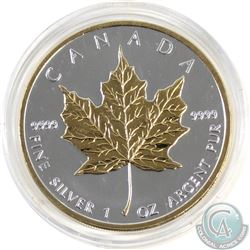 2008 Canada $5 1oz 9999 Fine Silver Maple with Selective Gold Plating (TAX Exempt).