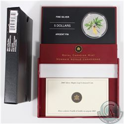 2005 Canada $5 Coloured Silver Maple Leaf in All Original Packaging (Coin has small toning spots) (T