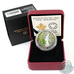 2014 $20 Canadian Maple Canopy - Spring Splendour Fine Silver Coin in All Original Packaging (TAX Ex