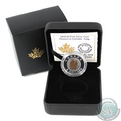 2014 $5 Flowers in Canada - Tulip Fine Silver & Niobium Coin in All Original Packaging (Coin is ligh