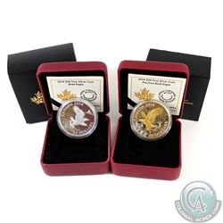 2014 Canada $20 Bald Eagle & 2014 $20 Perched Bald Eagle Fine Silver Coins in All Original Packaging