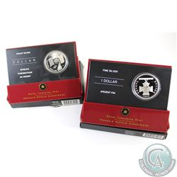 2005 & 2006 Canada Proof Fine Silver Dollars in All Original Packaging (TAX Exempt). 2pcs