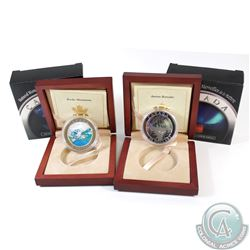 Lot of 2x $20 Canada Natural Wonders Fine Silver Coins - 2003 The Rockies & 2004 Aurora Borealis (TA
