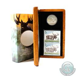 2004 Canada $5 The Majestic Moose Coin and Stamp Set in All Original Packaging.