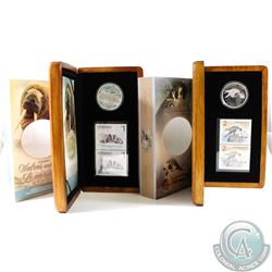 2005 Canada $5 Walrus and Calf & 2006 $5 Peregrine Falcon and Nestlings Coin and Stamp Sets in All O