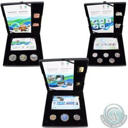 Lot of 3x 2010 Vancouver Olympic Coin, Stamp & Pin Sets. You will receive all 3 versions - Gold, Sil