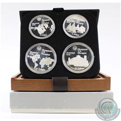 1976 Montreal Olympics 4-coin Series I Sterling Silver Set in All Original Packaging. This set conta