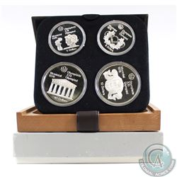 1976 Montreal Olympics 4-coin Series II Sterling Silver Set in All Original Packaging. This set cont