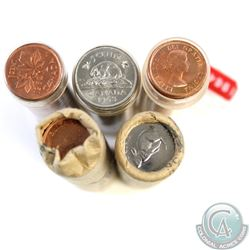 Lot of 5x Canada 1-cent & 5-cent Plastic Tube and Paper Rolls. You will receive 1-cent 1962, 1963, 1