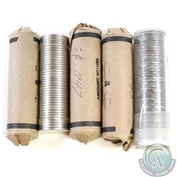 Lot of 5x Canada 5-cent Plastic Tube & Paper Rolls of 40pcs Dated 1940, 1947, 1949, 1953 & 1967. 5pc