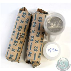 Lot of 3x Canada 5-cent Plastic Tube and Paper Rolls of 40pcs Dated 1956,1957,1958. 3pcs