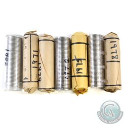 Lot of 7x Canada 5-cent Plastic Tube and Paper Rolls of 40pcs Dated 1971, 1972, 1975 & 1977-1980. 7p