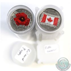 2015 Canada Coloured Poppy and Flag 25-cent Plastic Tube Rolls of 40pcs. All coins are coloured. 2pc